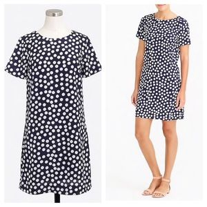NWT J. Crew Shift Dress Navy Polka Dot Size 2